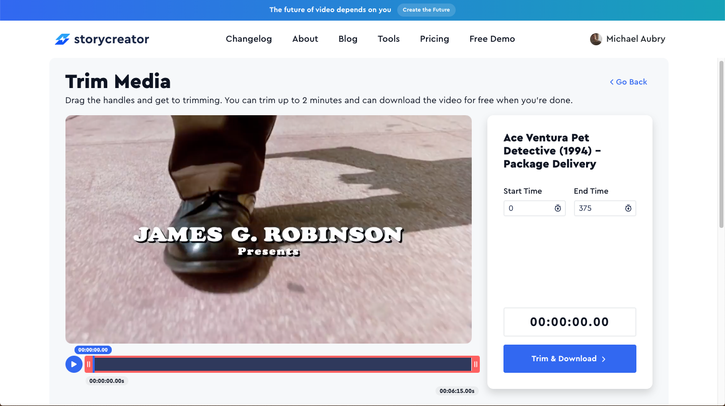 Screenshot of the free online video trimming tool