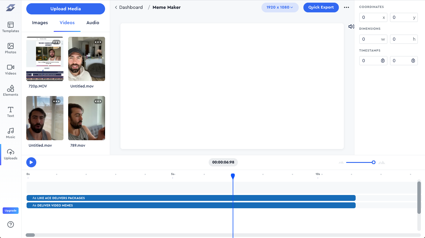 Uploading a meme video clip to Story Creator