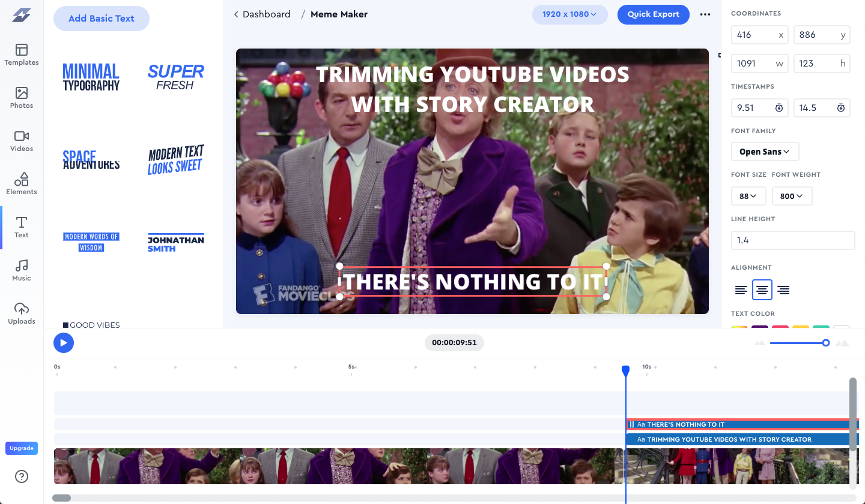 Adding text onto video inside Story Creator